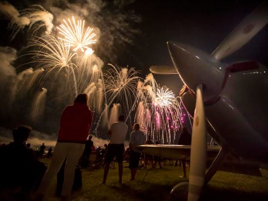 Saturday's AirVenture night air show ends with a fireworks