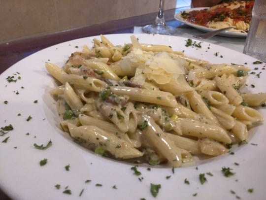 Johnny D's penne carbonara was penne pasta, seared