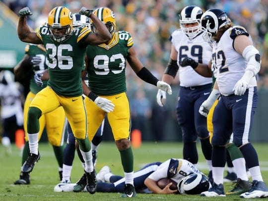 Green Bay Packers cornerback LaDarius Gunter celebrtes