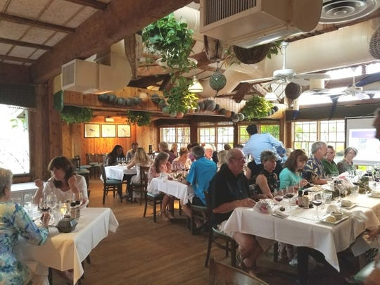 At the wine pairing dinners, tables are set family style so you get to meet new people and share your thoughts on the pairings. The evening is narrated by one of the Dolphin Bar's managers.
