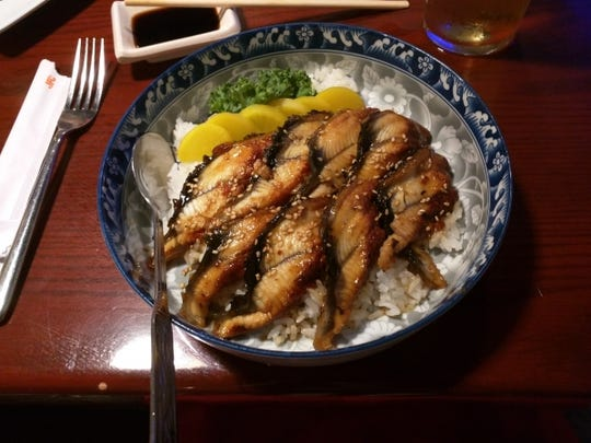 Izziban Sushi's unagi don, which is a grilled eel rice bowl.
