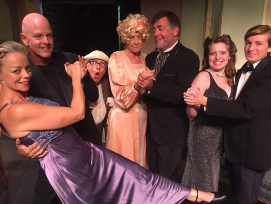 "Cast of the Barn Theatre's ""The Game's Afoot,""  L to"