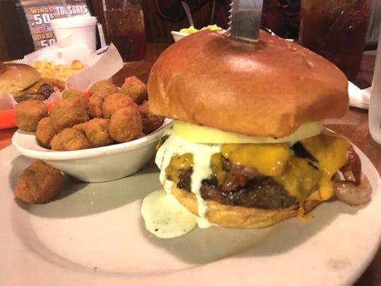 Cowboys' jalapeno bacon ranch burger was layered with