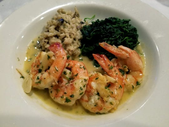 Talk:house's shrimp Jessica was four jumbo shrimp sauteed in a sauce of garlic, lemon, white wine and olive oil, accompanied by a mushroom risotto and sauteed spinach.