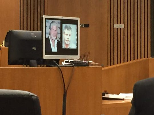 A photo of actor Ron Perlman, left, is shown with a photo of Joseph Gentz at the Bob Bashara murder trial on Monday, Dec. 1, 2014.