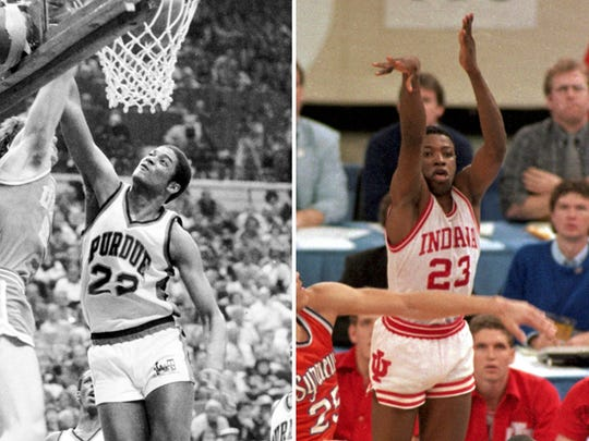 Purdue's Joe Barry Carroll (left) took the Boilers to their last Final Four (1980) and IU's Keith Smart (right) hit the game-winner in the 1987 title game against Syracuse.