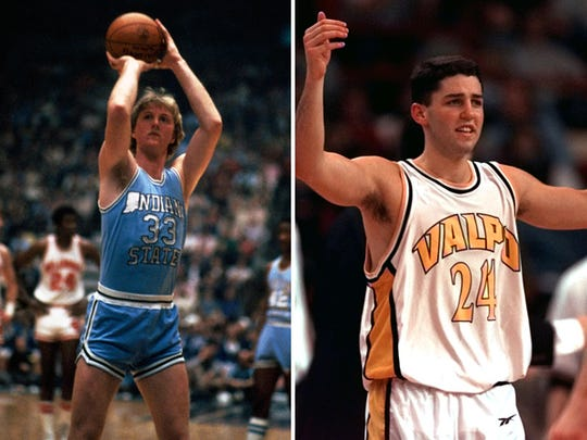 Two Indiana sharpshooters: Larry Bird (left) and Bryce Drew (right)