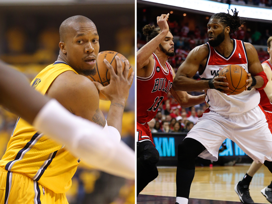 David West (left) and Nene (right).