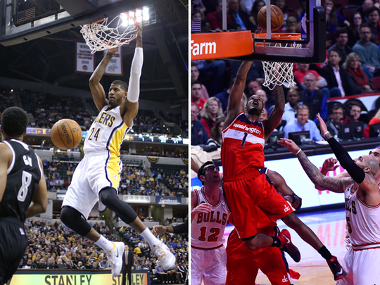 Paul George (left) and Trevor Ariza (right).