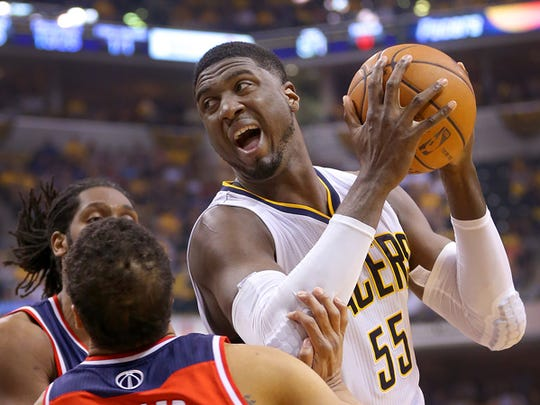 Pacers center Roy Hibbert drives the ball inside during the first half of action. Indiana Pacers play the Washington Wizards in game 2 of the Eastern Conference Semifinals Wednesday, May 7, 2014, at Bankers Life Fieldhouse.