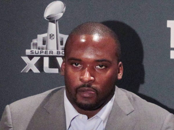 New York Giants linebacker Mathias Kiwanuka, who was born in Indianapolis and is a Cathedral High School graduate, talks with the media at the NFC Team hotel, the Indianapolis Marriott Downtown, 350 W. Maryland St., after the Giants arrived in town about 3 p.m. for their Super Bowl matchup with the New England Patriots on Sunday in Super Bowl XLVI. Charlie Nye / The Star