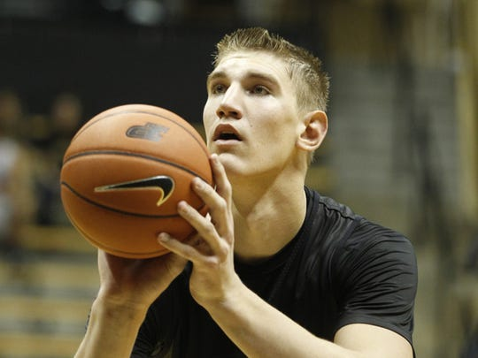 Isaac Haas with a free throw as Purdue men's basketball holds its second scrimmage Saturday, October 25, 2014, in Mackey Arena.