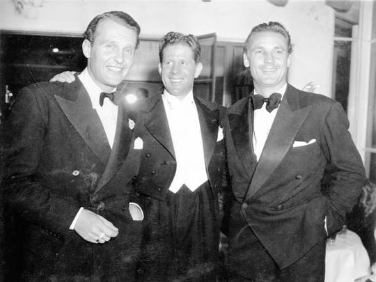 Ralph Bellamy, Rudy Vallee and Charlie Farrell at the Racquet Club, 1930s.