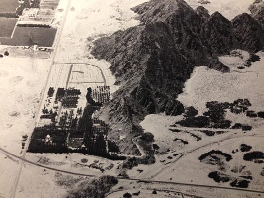 Bottom left: Point Happy Date Gardens at the intersection of Highway 111 and Washington Street in La Quinta, circa 1960s. This is now the site of Vons shopping center.