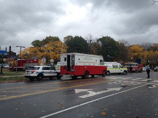 The scene of a reported explosion at UR on Saturday.