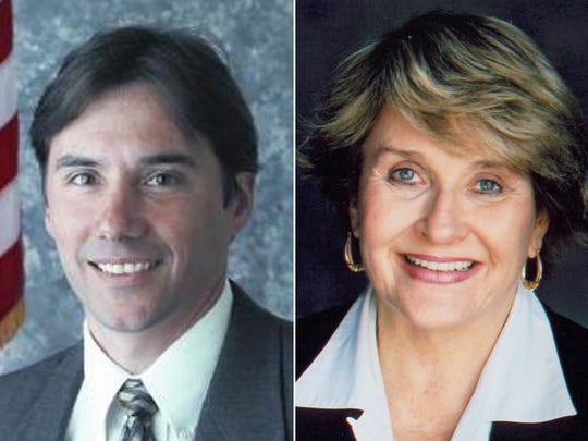 Mark Assini, left, and Louise Slaughter.