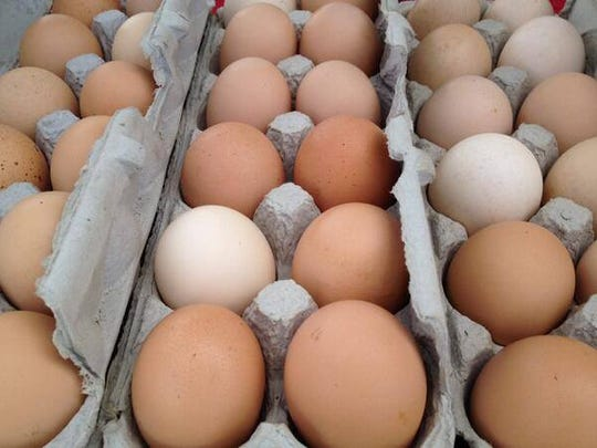 Farm fresh eggs are pictured at the St. Joseph Farmers Market in this 2014 photo.