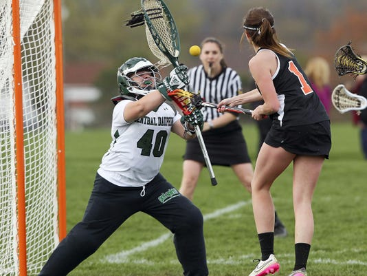 Palmyra's Hanah Soucy takes a shot against Central Dauphin goalie Jordan Vereb during a Mid-Penn Keystone matchup at Central Dauphin High School on Tuesday.