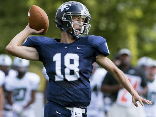 Lebanon Valley College quarterback Tyler Cottle gets ready to throw the ball down field against Stevenson University at Arnold Field on September 19, 2015.