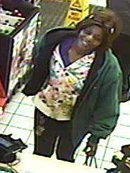 Police report this woman is a suspect in the theft of a Children's Miracle Network Hospitals donation jar at the Speedway at the corner of West Fourth Street and North Lexington-Springmill Road in Ontario.