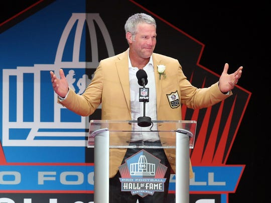 Former Packers quarterback Brett Favre gives his acceptance speech during the NFL Hall of Fame enshrinement in Canton, Ohio, in August 2016.