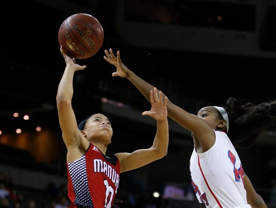 Manual's Tyonne Howard, left, puts up a shot against