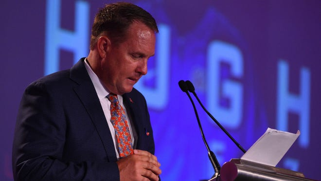 Ole Miss coach Hugh Freeze speaks at SEC Media Days on Thursday, July 13, 2017.