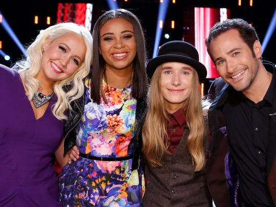 Meghan Linsey, from left, Koryn Hawthorne, Sawyer Fredericks and Joshua Davis are Season 8 finalists of 'The Voice