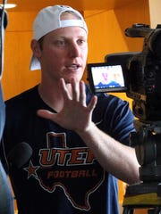 UTEP quarterback Ryan Metz talks to the media Monday at the Larry K. Durham Center.