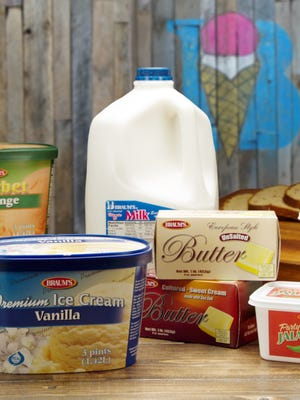 A recent publicity photo of Braum's dairy products for sale in its stores.