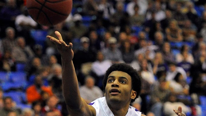 Braxton Blackwell puts on up as CPA plays South Side in the boys Class AA basketball semifinals at MTSU Friday March 14, 2014, in Murfreesboro, TN.