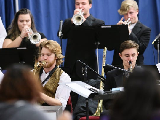 The T.L. Hanna High School Jazz Band plays before the birthday celebration Monday for the Rev. Martin Luther King Jr. at the Civic Center of Anderson.