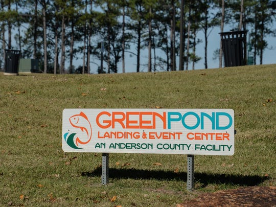 The front entrance sign for the Green Pond Boat Landing and Event Center in Anderson on Monday.