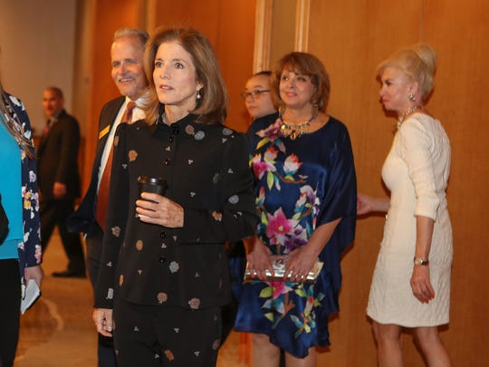 Caroline Kennedy walks in the Renaissance Indian Wells Resort before speaking at the Desert Town Hall in Indian Wells, March 8, 2018.