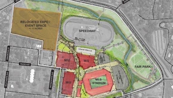The plan for Nashville's MLS stadium at the fairgrounds calls for 10 acres of private development.