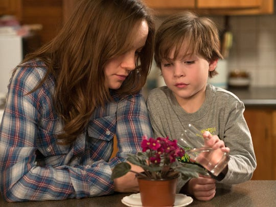 "Brie Larson, with Jacob Tremblay in a scene from ""Room,"""
