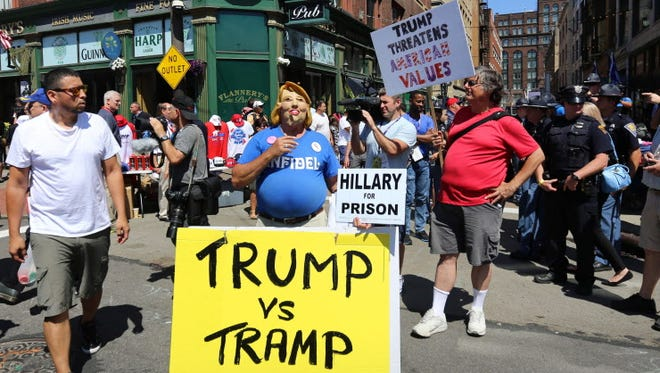 Dueling protesters outside the Republican convention in Cleveland in July 2016.