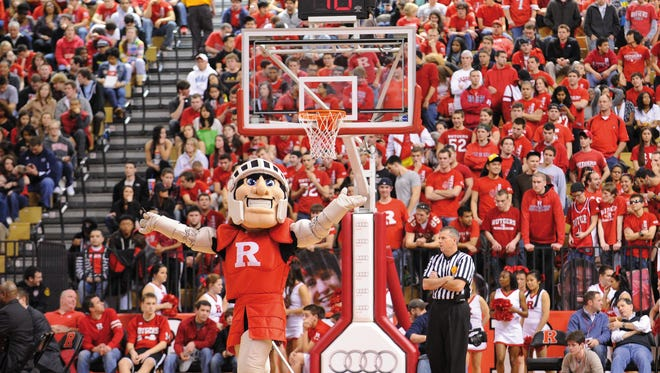 Rutgers Basketball Game with the Rutgers Mascot