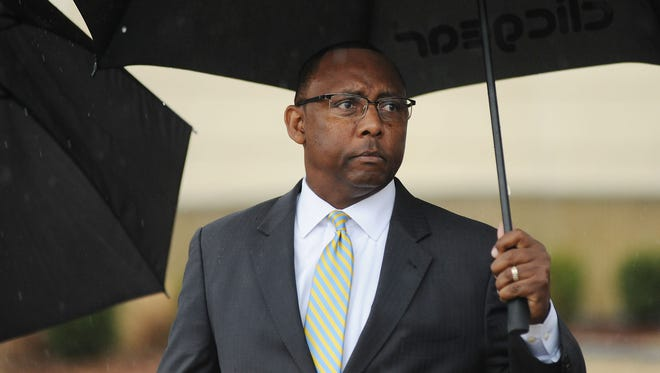Former Mississippi Corrections Commissioner Chris Epps leaves the U.S. Courthouse today in Jackson, after pleading guilty to two federal charges.