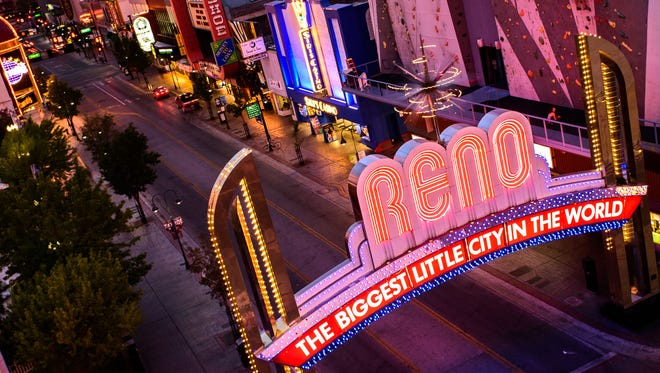 Reno Arch at night.