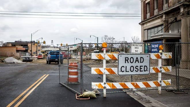 Construction continues on 3rd street at Church Street. The city's $21 million downtown utility upgrade project moves to West Church Street on Monday.