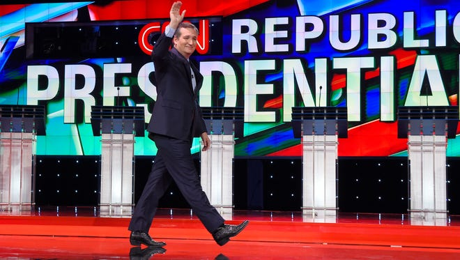 Ted Cruz takes the stage during the CNN debate on Dec. 15, 2015, in Las Vegas.
