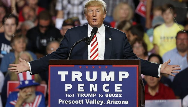 Republican presidential nominee Donald Trump holds a rally at the Prescott Valley Event Center on Oct. 4, 2016.