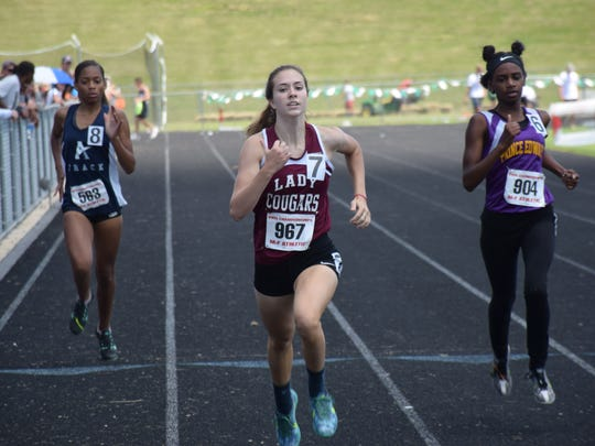 Stuarts Draft's Jordan Ramsey competes in the Group 2A girls 400-meter dash at the VHSL Group 1A/2A track championships on Saturday, June 3, 2017, at East Rockingham High School in Elkton, Va.