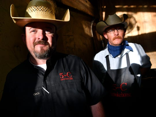 Joe Campbell (left) and his brother Stephen at 5-C Smokehouse in Clyde Saturday April 14, 2018. The restaurant will be one of the participants in Tuesday's Taste of Abilene.