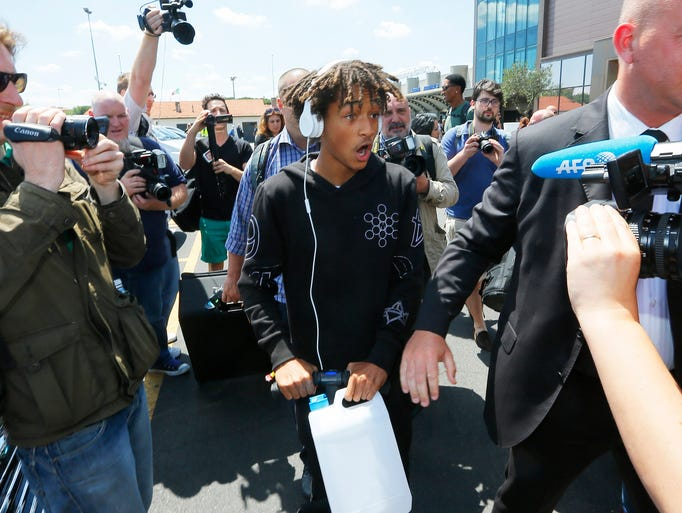 Jaden Smith arrives in Florence, Italy, for the wedding of Kim Kardashian and Kanye West.