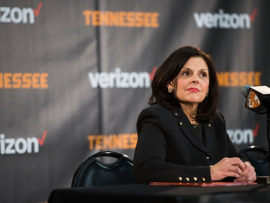 Beverly Davenport at a press conference in Thompson-Boling Arena on March 2, 2017. Davenport was fired as the University of Tennessee Knoxville's chancellor last month.