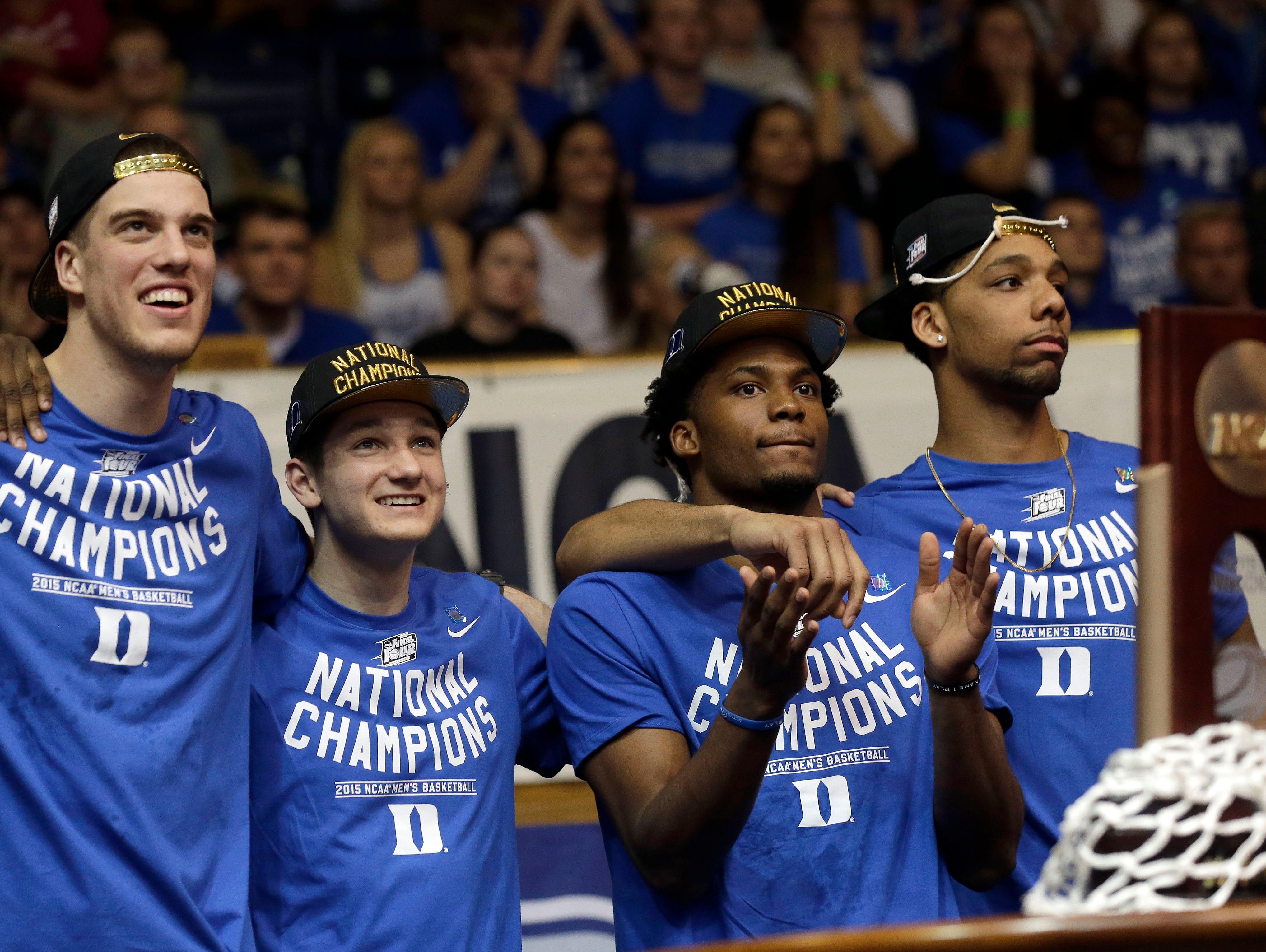 Marshall Plumlee, far left, is a junior basketball player at national champion Duke.
