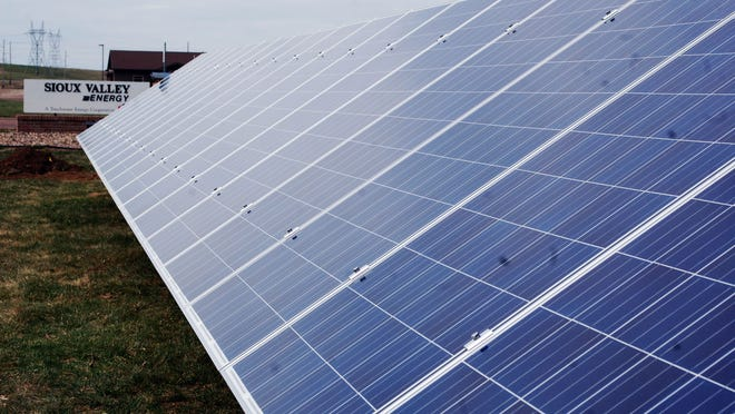 Eighty solar panels form a 198-foot array on the grounds of Sioux Valley Energy in Brandon. SVE put up the array to gather useful data for the cooperative and its members.