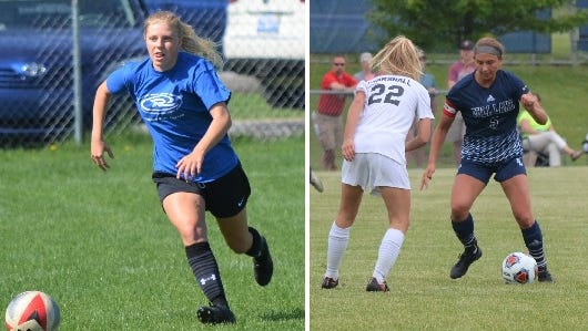Marshall's Kate Face, left, and Gull Lake's Reagan Wisser, right, were named all-state by the Michigan High School Soccer Coaches Association.